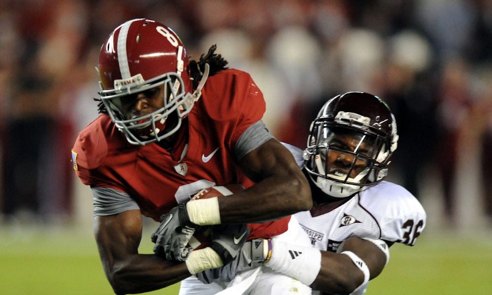 Julio Jones with a catch for Alabama in 2008 game versus Mississippi State