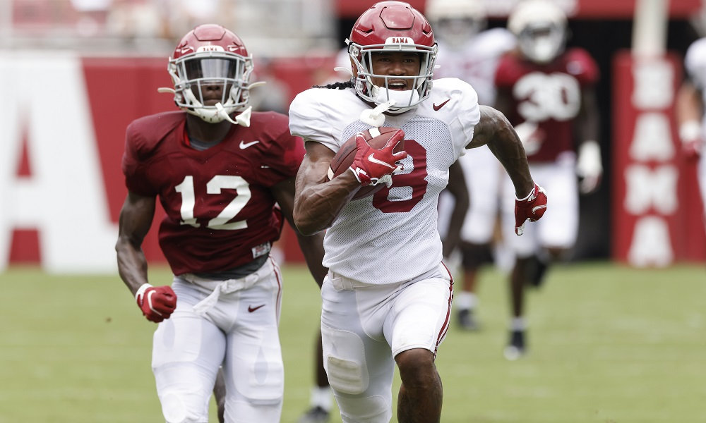 John Metchie takes a pass for a touchdown in Alabama's 2nd scrimmage