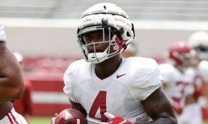 Brian Robinson runs with the ball during second scrimmage for Alabama in fall camp