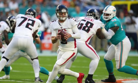 AJ McCarron drops back to pass for Falcons versus Dolphins in NFL preseason