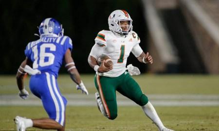 D'Eriq King runs with the ball for Miami versus Duke in 2020