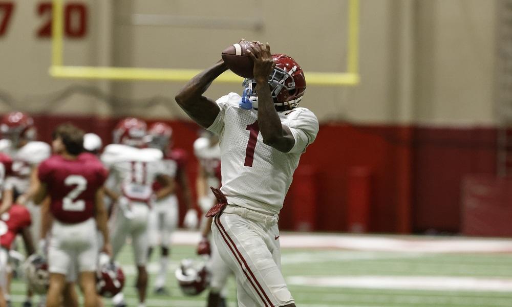 Alabama wide receiver Jameson Williams (1) Photo by Kent Gidley