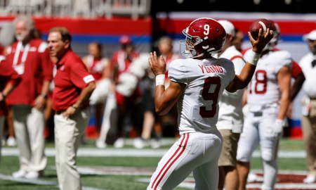 Bryce Young in warmups for Alabama before game versus Miami