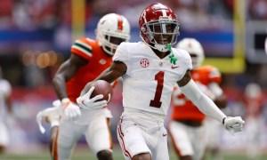 Jameson Williams (No. 1) celebrates 94-yard TD for Alabama versus Miami