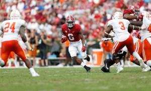 Trey Sanders (#6) runs with the ball for Alabama versus Mercer