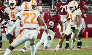 Bryce Young scrambles against Tennessee