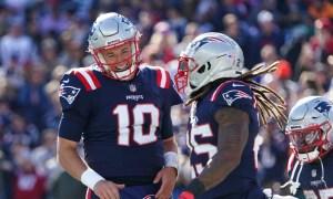 Mac Jones (#10) celebrates touchdown passes for Patriots versus Jets