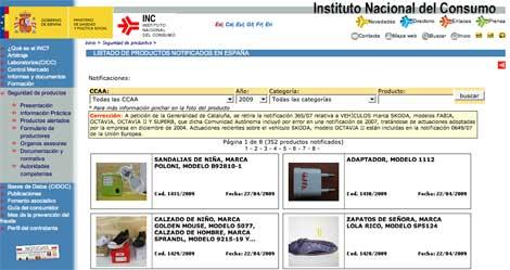Productos notificados por el Instituto Nacional de Consumo