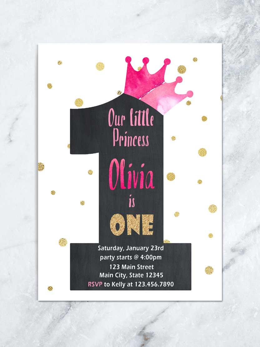 Little Princess First Birthday Invitation Princess Birthday Party Polka Dot First Birthday Invite Pink Crown Invite Digital File Tda Party On Paper