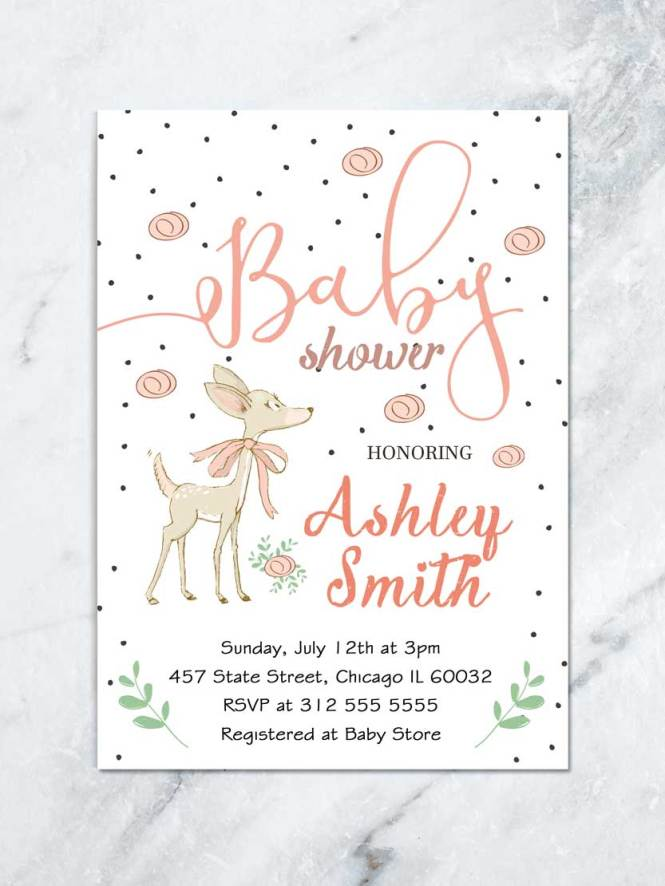 Woodland Deer Baby Shower Invitation Forest Printable Invite Diy Party Cute Animals
