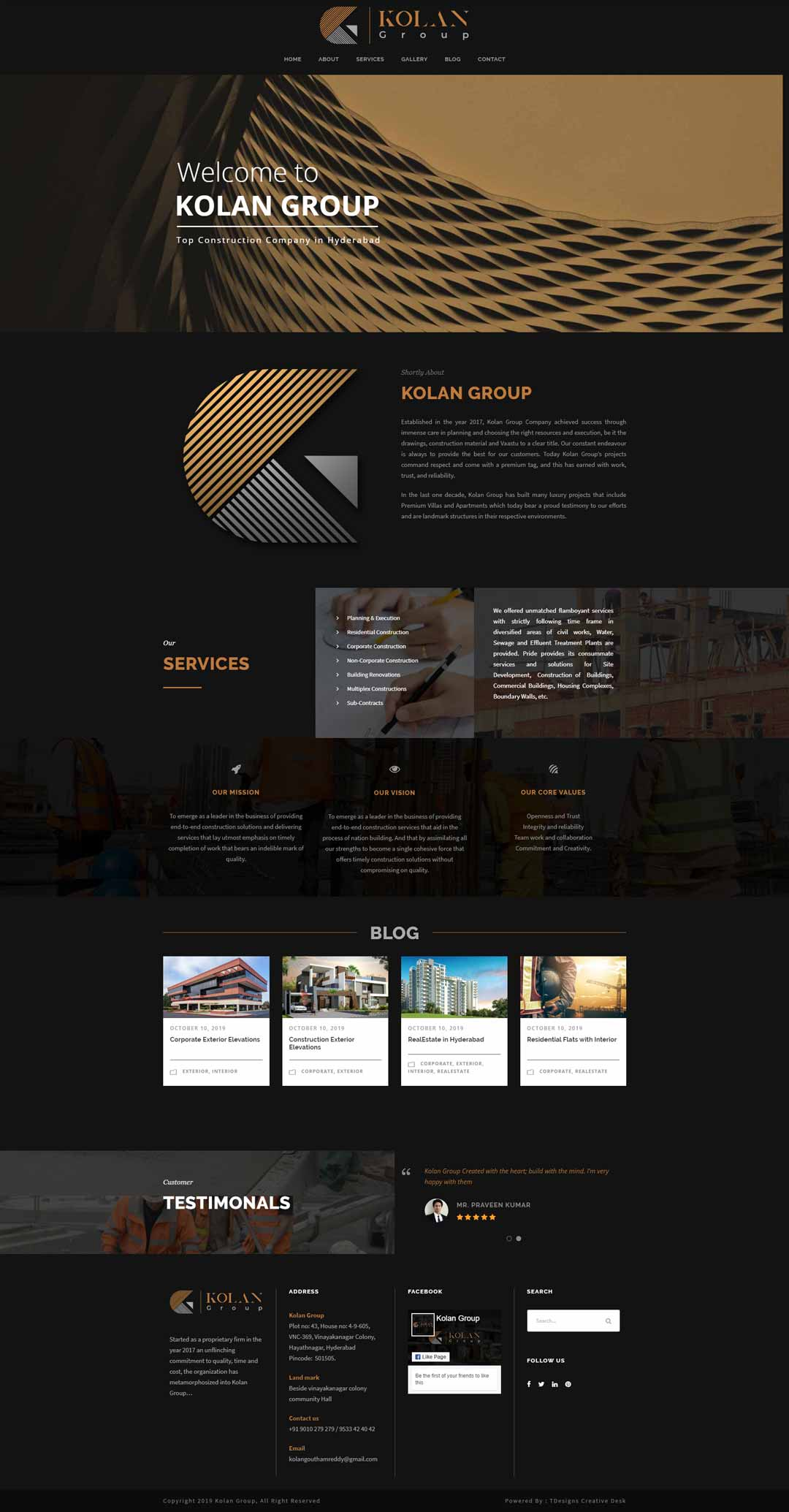 Kolan group website design