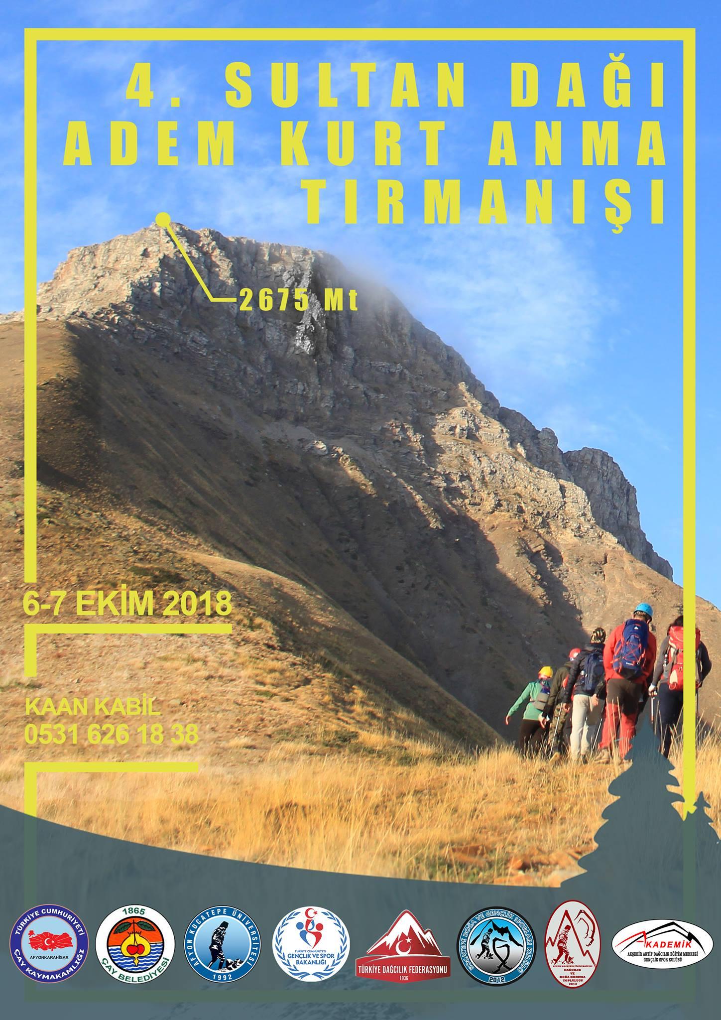 4. Sultan Dağı Adem Kurt Anma Tırmanışı Daveti