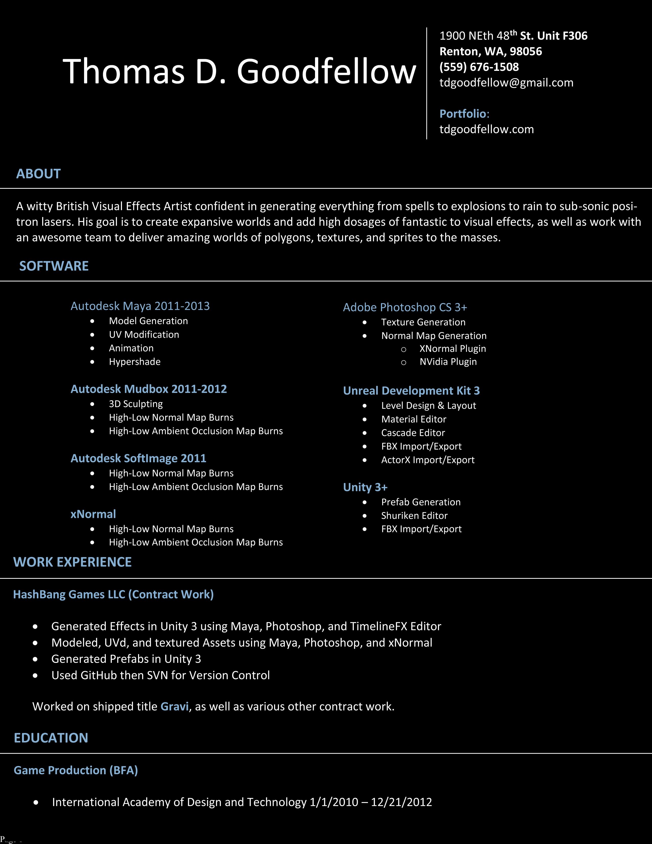 Vfx Artist Resume Format 28 Images Resume Format For Freshers