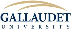 (Gallaudet University logo) Company name in navy blue: GALLAUDET, below UNIVERSITY. Above company name are two swoops merging into one to represent the sign 'Gallaudet'