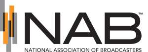 """(NAB logo) Design showing 5 vertical bars, in alternating color - dark grey / orange, possibility representing antennas. Followed by company name in black: NAB. Below company name """"NATIONAL ASSOCIATION OF BROADCASTERS"""""""