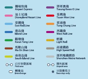 香港MTR 路線図 凡例
