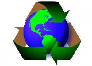 recycled globe in logo