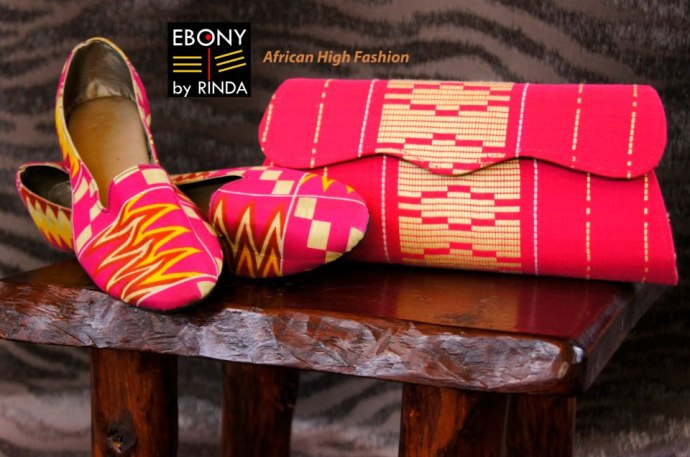 EBONY BY RINDA- Hand made kente clutch bag and loafers