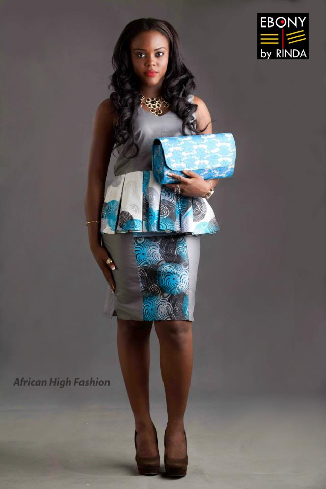 EBONY BY RINDA- Peplum outfit with beautiful hand-made clutch bag