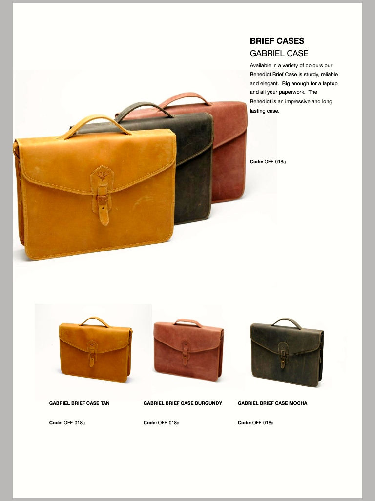 Rift Valley Leather Product Range Courtesy of Rift Valley Leather