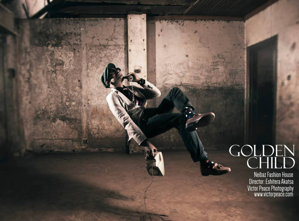 'The golden child' project for the Neibaz Fashion House...videographer/ photographer Eshitera Akatsa Watch out for the 'Behind The Scenes' video — with Peter Cephas Mwangi, Victor Peace and Eshitera Akatsa. (c)VictorPeace