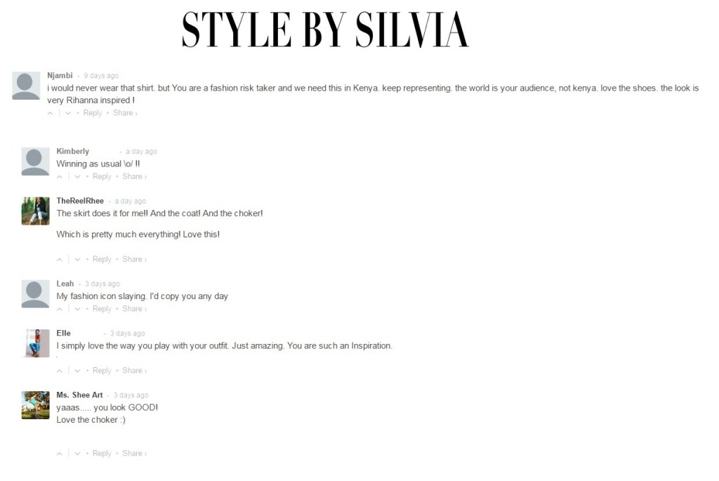 Comments and Feedback: a taste of what some fashion bloggers receive from their readers.