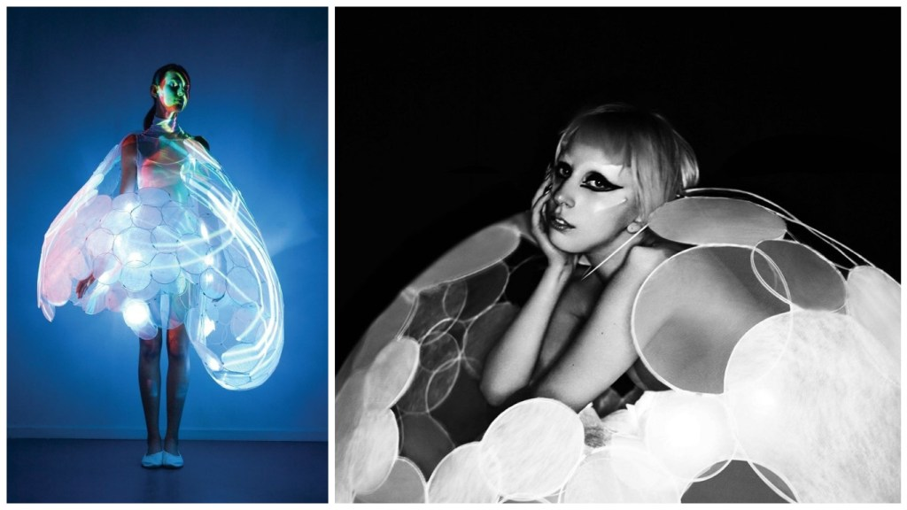 From Left: Bubelle the blushing dress [Image: courtesy of Studio XO] and Lady Gaga in the Bubelle emotion sensing dress that Studio XOs Nancy Tilbury helped create for Philips [Image: Nick Knight]