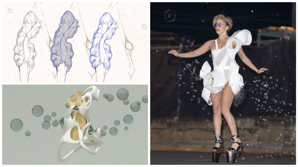 From Top Left: Early sketch and render of Anenome [Image: Courtesy of Studio XO] and Lady Gaga wearing the final product.