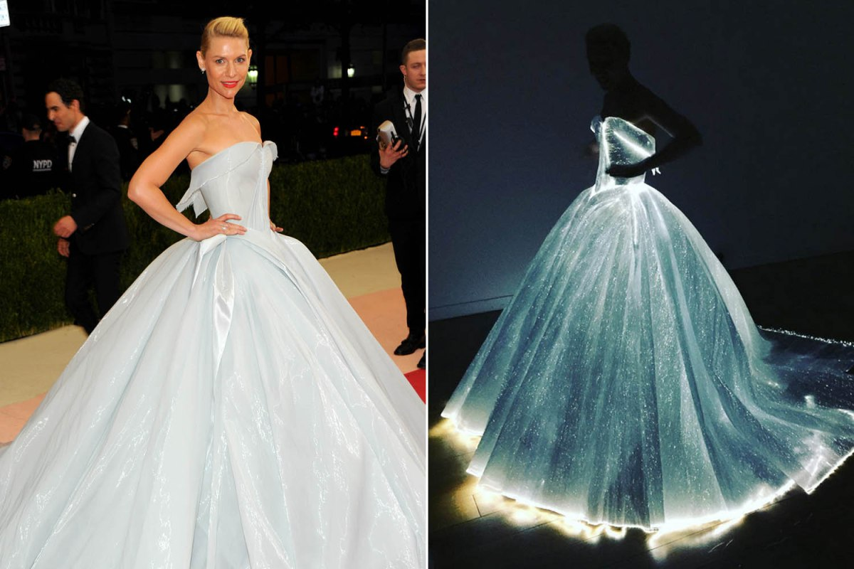 Claire Danes lights up the Met Gala with fiber-optic dress. Photo: StarTraks / Instagram