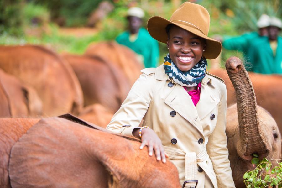 Lupita Nyong'o visits The David Sheldrick Wildlife Trust's Nairobi Elephant Orphanage (Kristian Schmidt/courtesy of David Sheldrick Wildlife Trust)