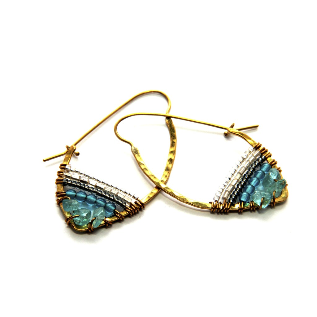 Stone Hoop Sky Collection Earrings [image: SASA Designs]