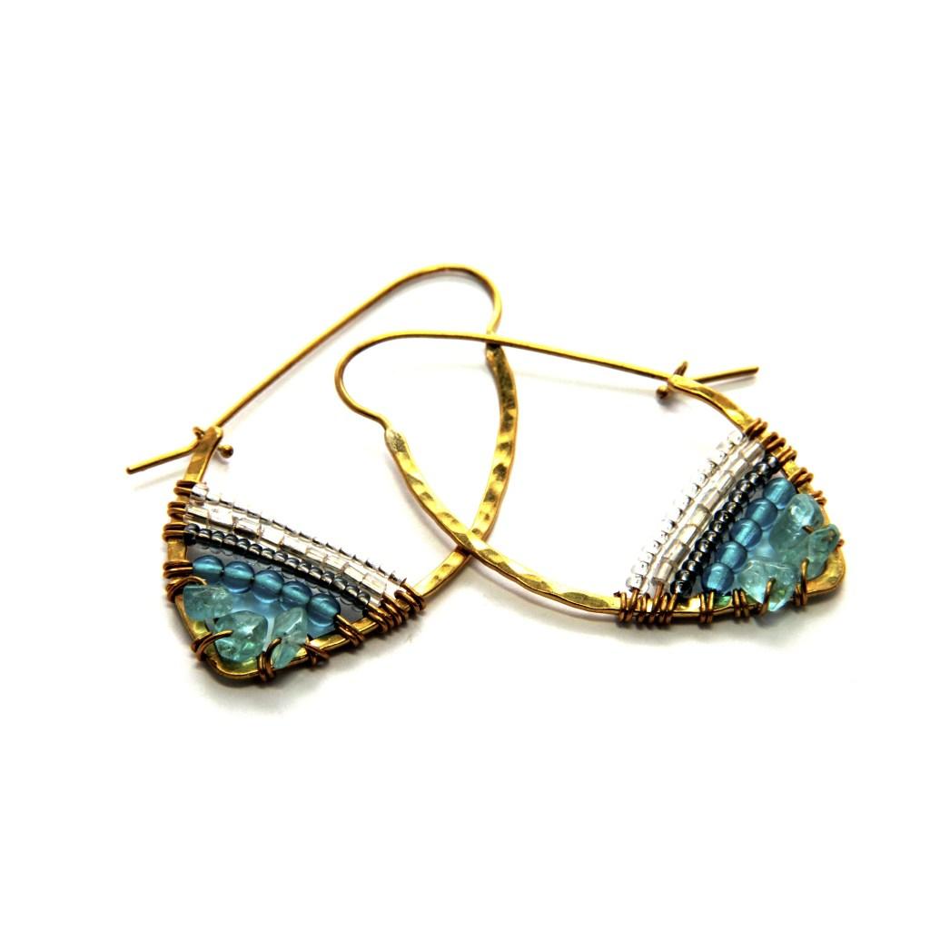 Stone Hoop Sky Collection Earrings [image: SASA Designs]