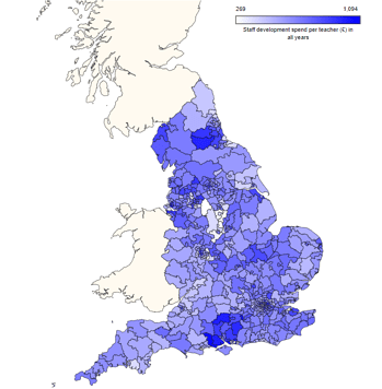 Map of CPD Spending across England