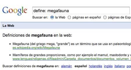 Google, buscar definiciones de palabras