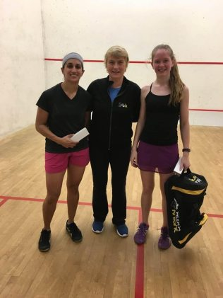Vanessa Steinwall (left) posing with Tournament Chair Barbara Cooper and women's A winner.