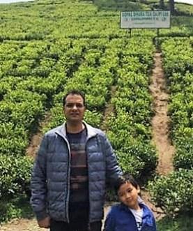 Rishi Saria and his son at Gopaldhara