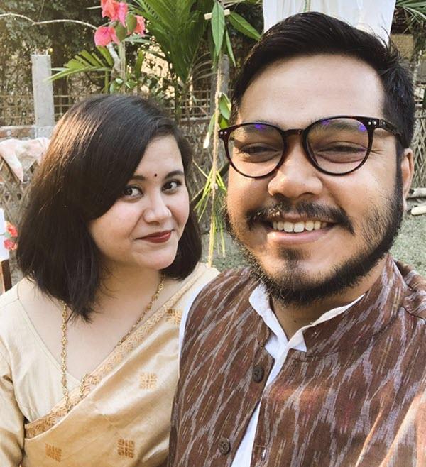 Folklore Tea founders Bidisha Das, left, and Subhasish Borah