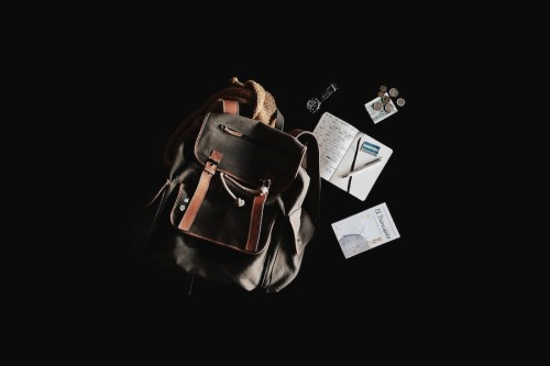 Travel planning blog past - Backpack flatlay