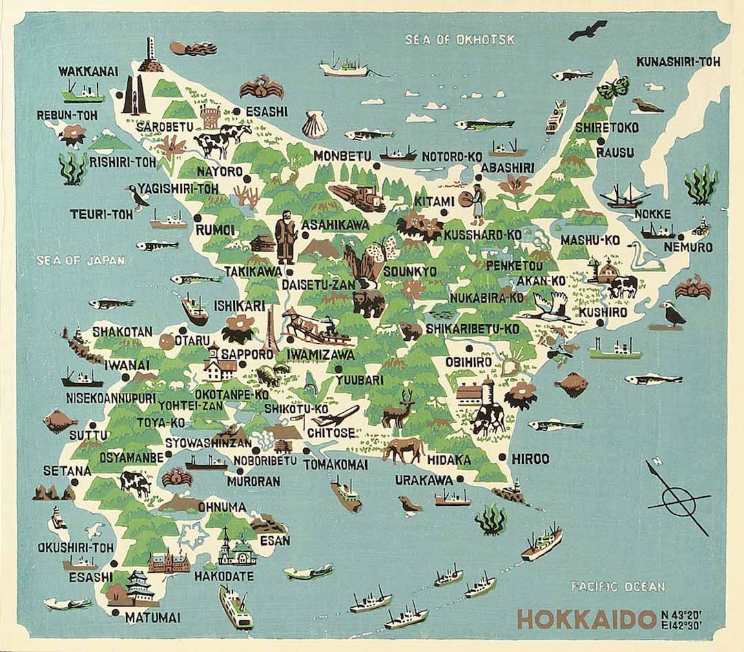 Hokkaido, pictorial map, map, art, Omoto Yasushi