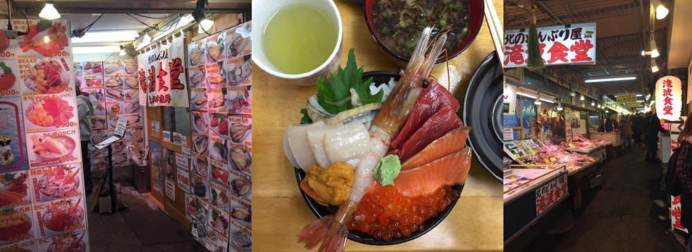 sashimi, sankaku market, Otaru, Hokkaido