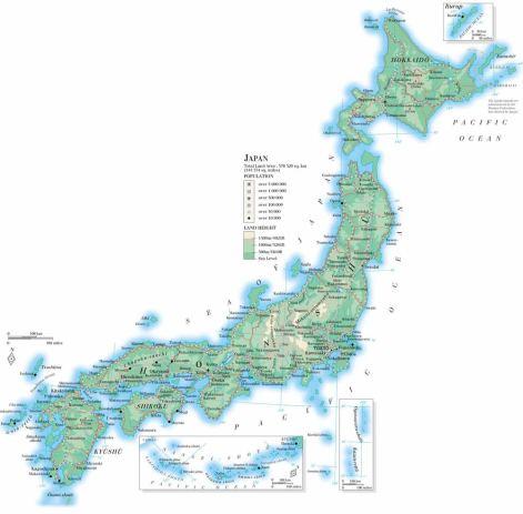 Map, Japan, Japanese, Hokkaido, topographical