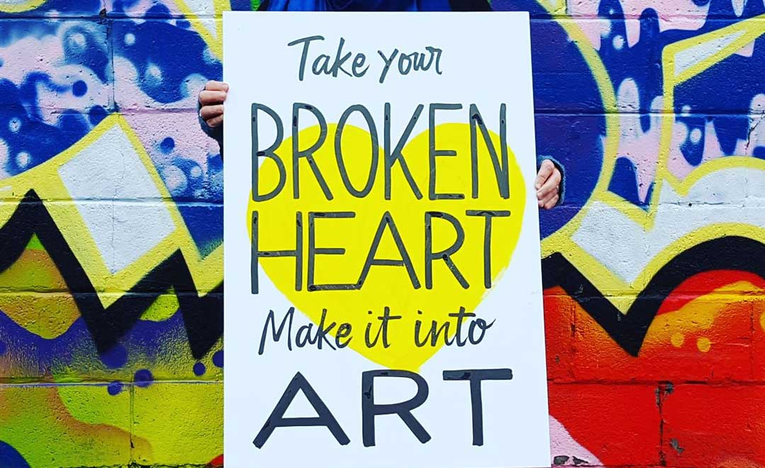 broken heart, art, sign, rally, march, women's day