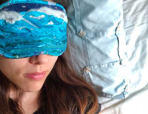sleep mask, ocean dreams, fibre art