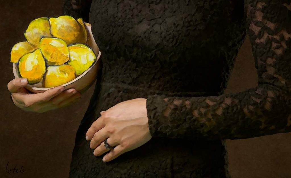 Close up of woman's torso, wearing black lace, holding bowl of lemons