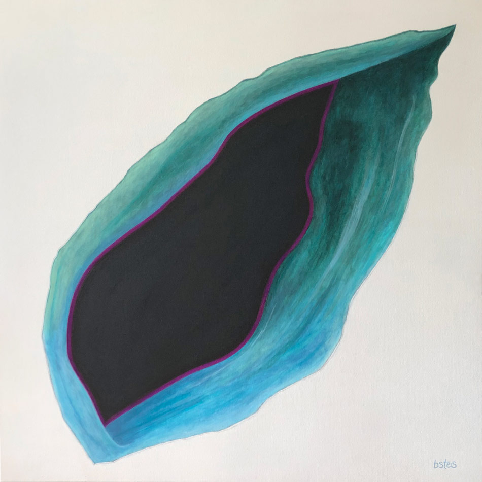 Painting entitled Freedom Rift by bsteis. A Blue-green opening in a wall, looking into a black abyss.