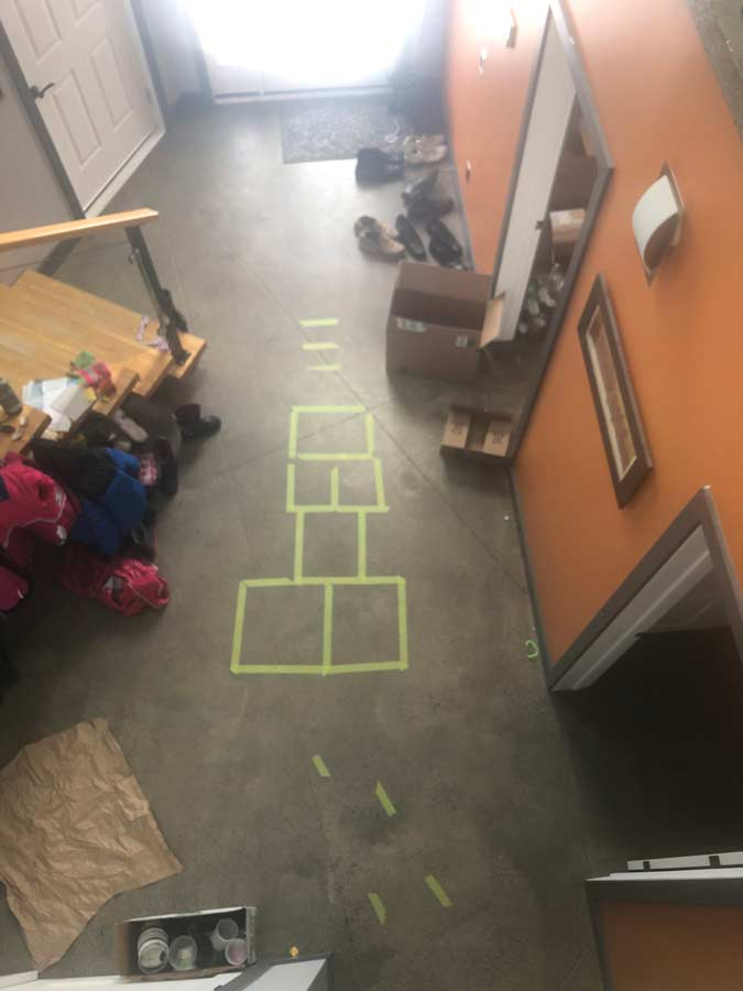 Obstacle course in the hallway