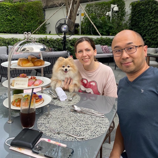 High tea in the garden with Rocket the Pomeranian & my husband. A perfect birthday staycation adventure.