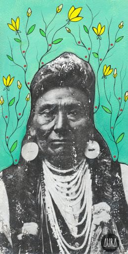 """""""It does not require many words to speak the truth."""" - Chief Joseph, Nez Perce 6"""" x 11""""  Mixed media on 140lb watercolour paper """"Use your art form and gifts, whatever they might be (drawing, painting, dancing, drumming, music, singing, acting, crafting etc.) to share your truth."""" - Aura"""