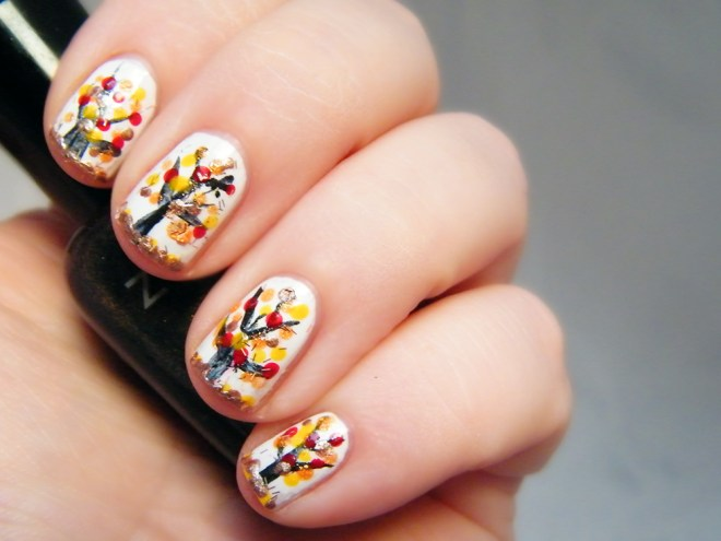 Fall Nail Art Tree CBBOctNails Freehand