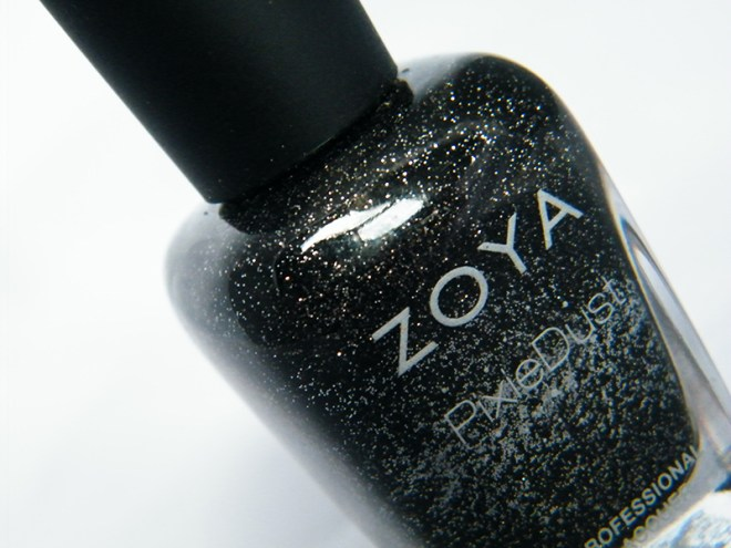 Zoya Dahlia PixieDust Black Nail Polish Bottle Pic CBBOCtNails Day 1